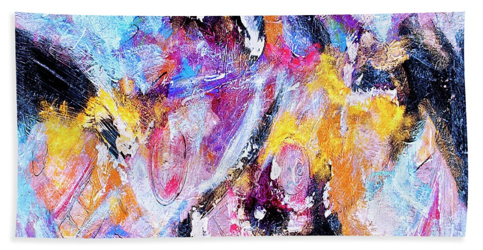 Abstract Beach Towel featuring the painting Emergent by Dominic Piperata