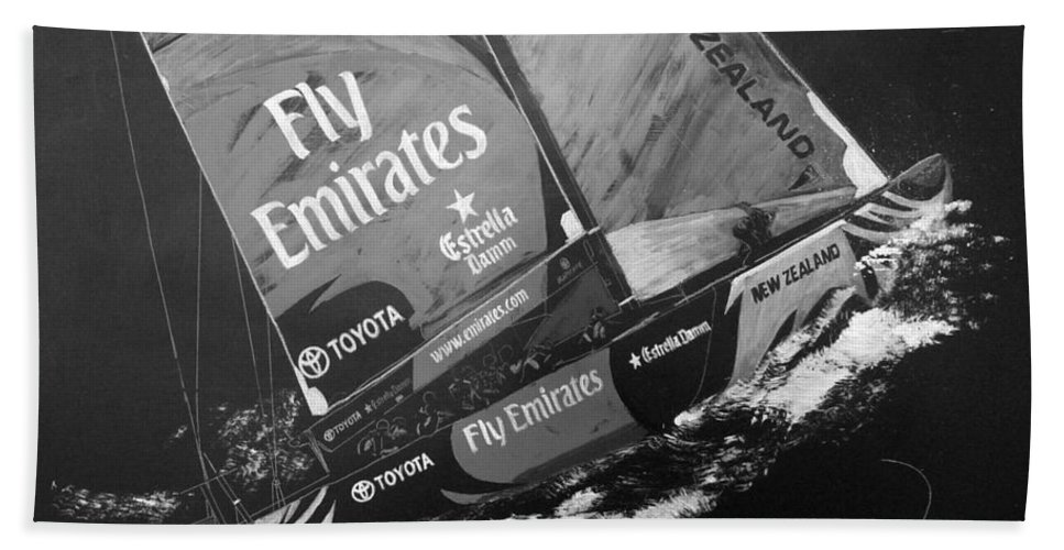 America's Cup Beach Towel featuring the painting Emirates Team New Zealand by Richard Le Page
