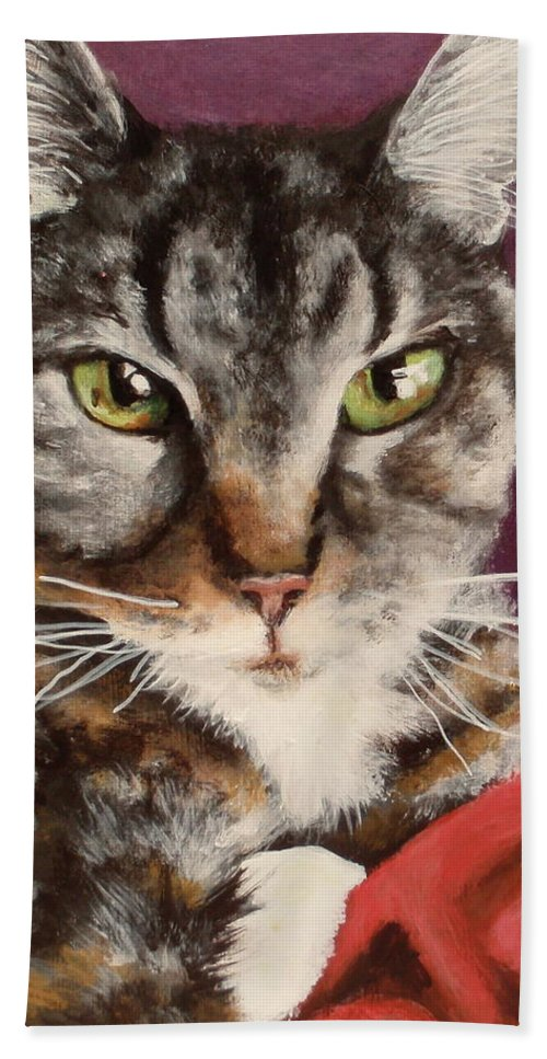 Calico Cat Beach Towel featuring the painting Emmy by Carol Russell