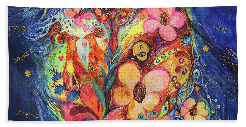 Original Beach Towel featuring the painting Emotion In Blue by Elena Kotliarker