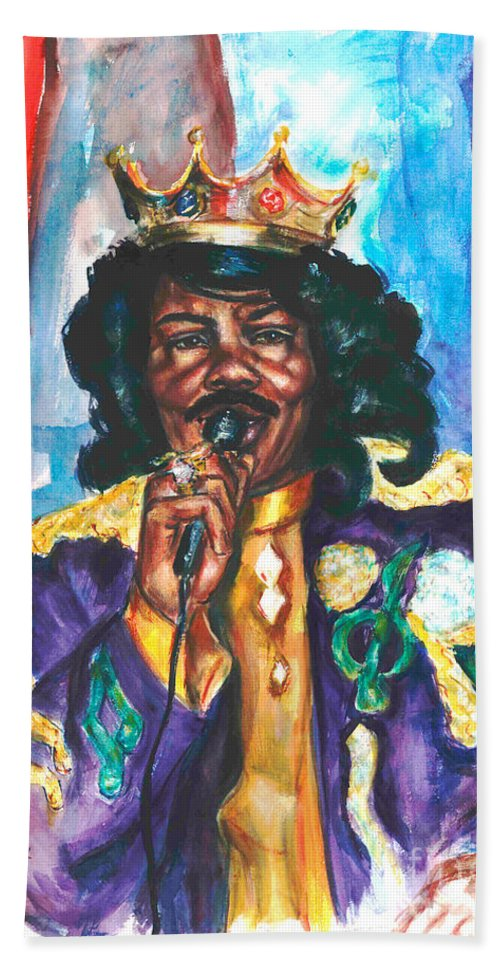 Ernie K Doe Beach Towel featuring the painting Emperor Of The Universe by Beverly Boulet