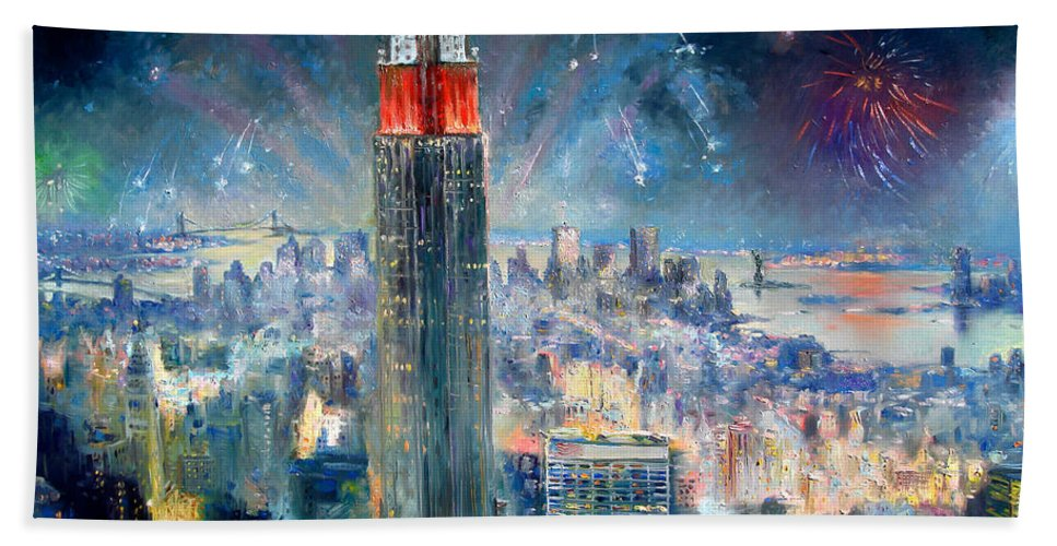 Empire State Building Beach Towel featuring the painting Empire State Building In 4th Of July by Ylli Haruni