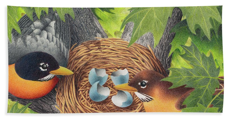 Drawing Beach Towel featuring the drawing Empty Nest by Mike Farrell