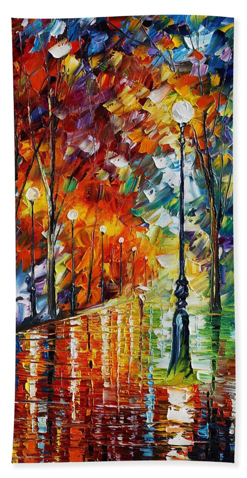 Afremov Beach Towel featuring the painting Empty Park by Leonid Afremov