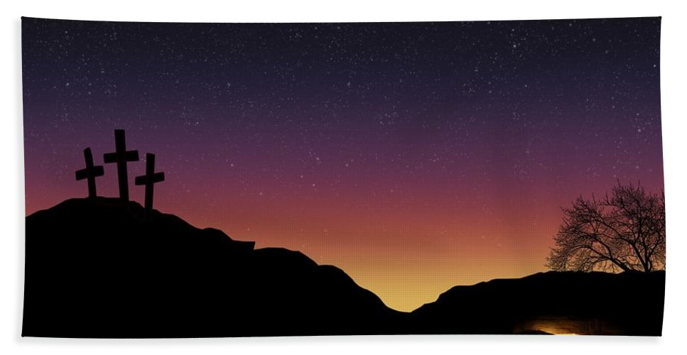 Cave Beach Towel featuring the photograph Empty Tomb And Three Crosses by Colette Scharf