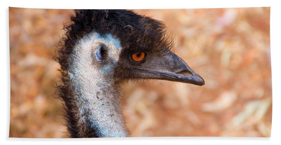 Emu Beach Towel featuring the photograph Emu Profile by Mike Dawson