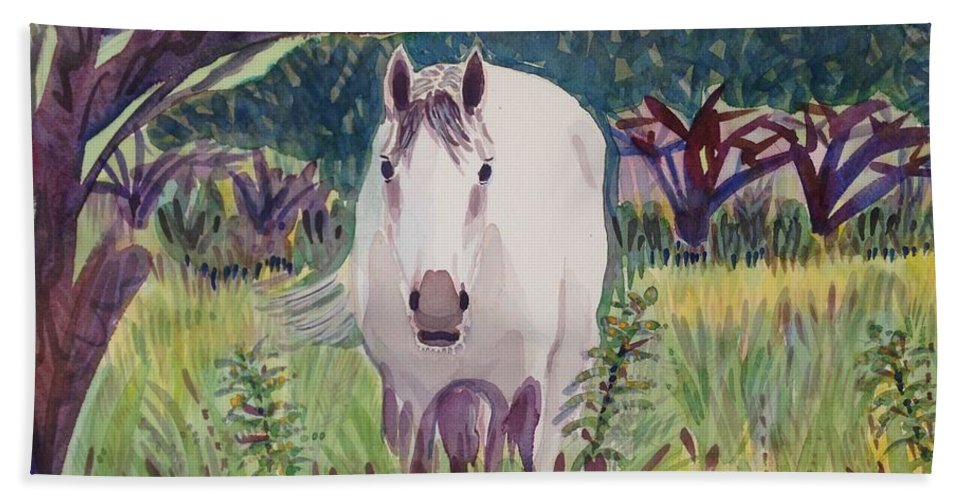 Horse Beach Towel featuring the painting En El Bosque by Virginia Vovchuk