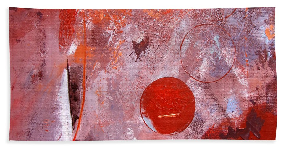 Abstract Beach Towel featuring the painting Encased In Red by Ruth Palmer