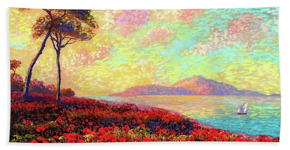 Floral Beach Towel featuring the painting Enchanted by Poppies by Jane Small