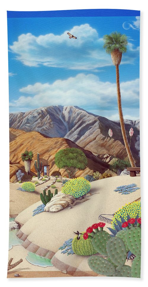 Desert Beach Towel featuring the painting Enchanted Desert by Snake Jagger