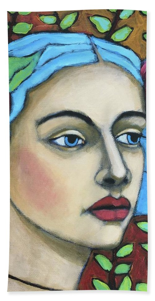 Portrait Beach Towel featuring the painting Enchanted by Jane Spakowsky