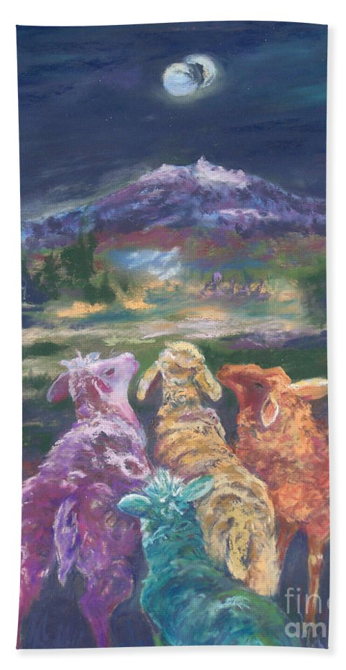 Fantasy Beach Towel featuring the pastel Enchanted Lights by Alicia Drakiotes