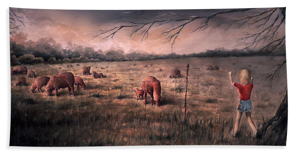 Landscape Beach Towel featuring the painting A childhood by William Russell Nowicki