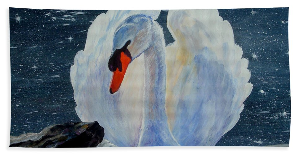 Swan Beach Towel featuring the painting Enchanting by Susan Duda