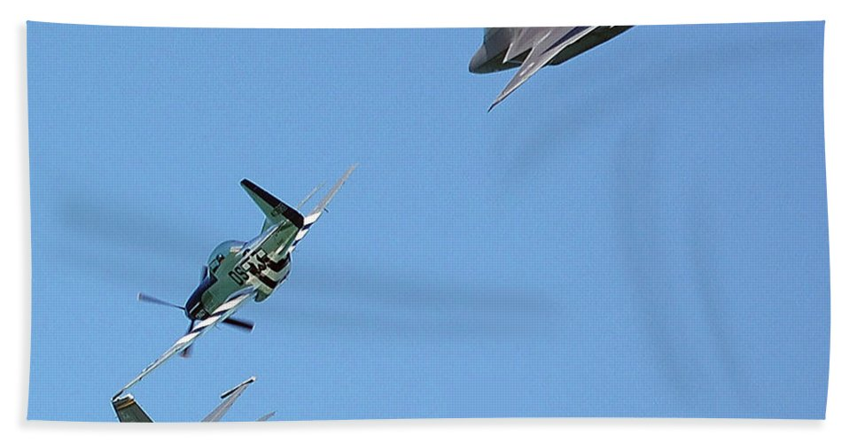 Jets Beach Towel featuring the digital art Encore Fly-over by DigiArt Diaries by Vicky B Fuller