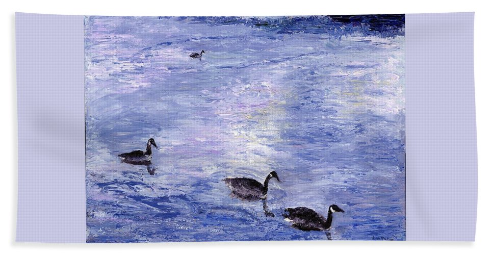 Canada Geese Beach Towel featuring the painting End Of The Day by Alice Faber