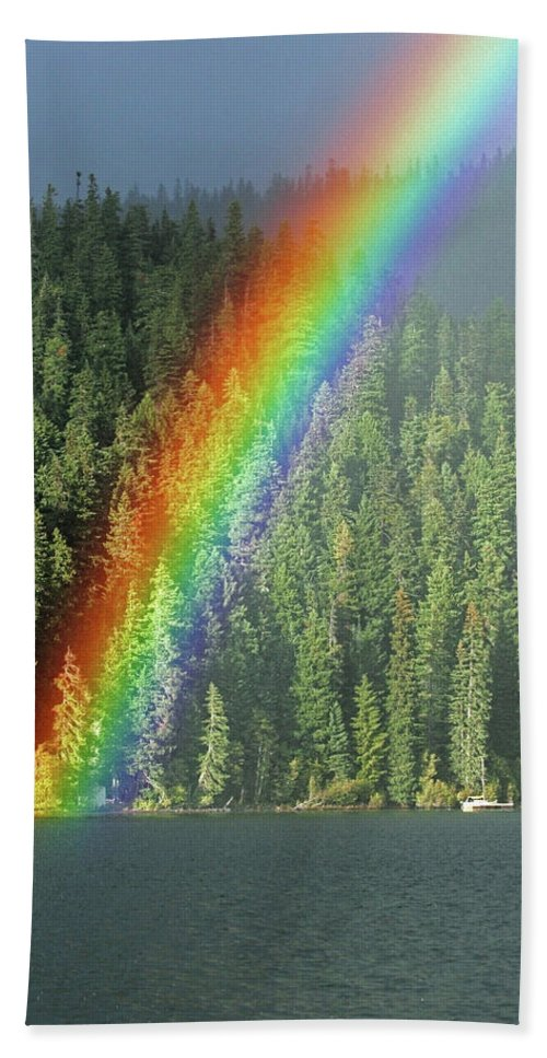 Landscape Beach Towel featuring the photograph End Of The Rainbow by Randall Ingalls