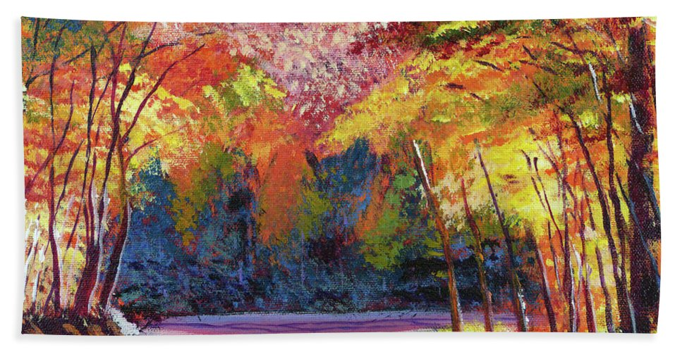 Autumn Beach Towel featuring the painting End Of The Road by David Lloyd Glover