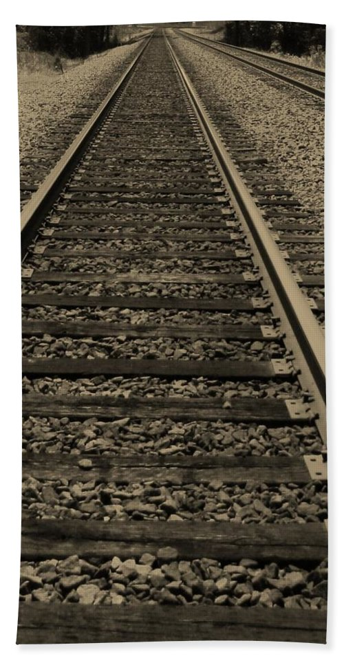 Railroad Beach Towel featuring the photograph Endless Journey by Ginger Adams