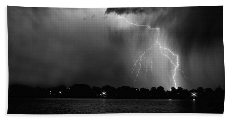 Lightning Beach Towel featuring the photograph Energy Black And White by James BO Insogna