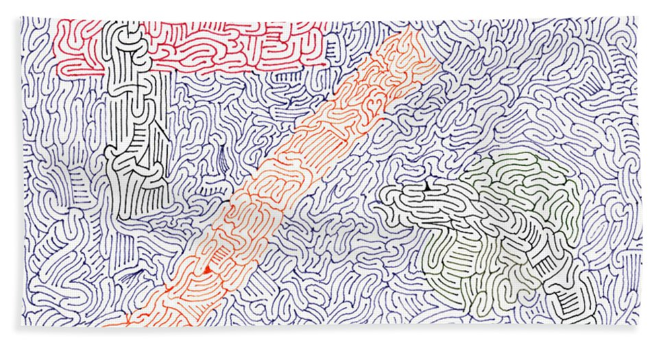 Mazes Beach Towel featuring the drawing Engage by Steven Natanson