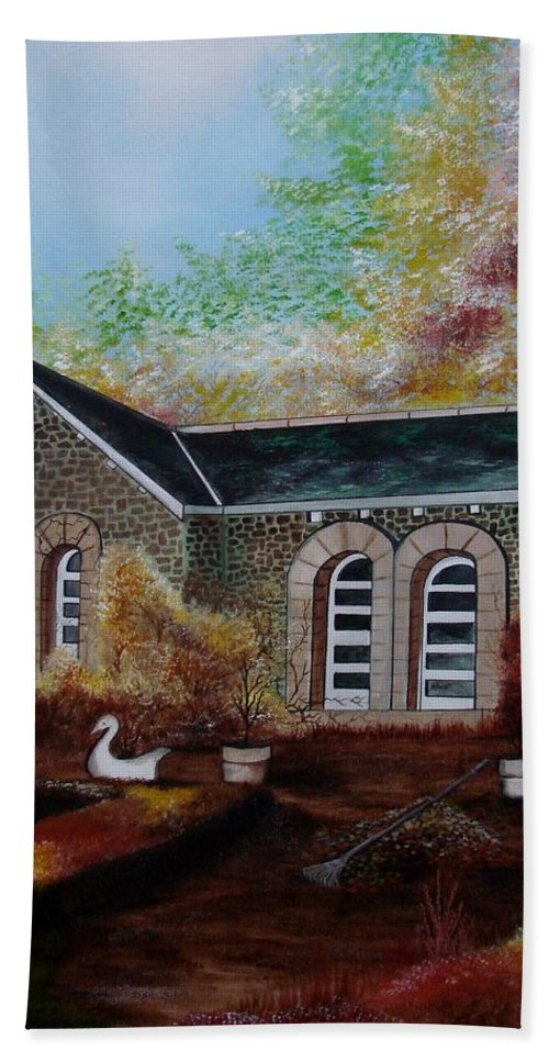 Autmn Beach Towel featuring the painting English Cottage in the Autumn by Glory Fraulein Wolfe