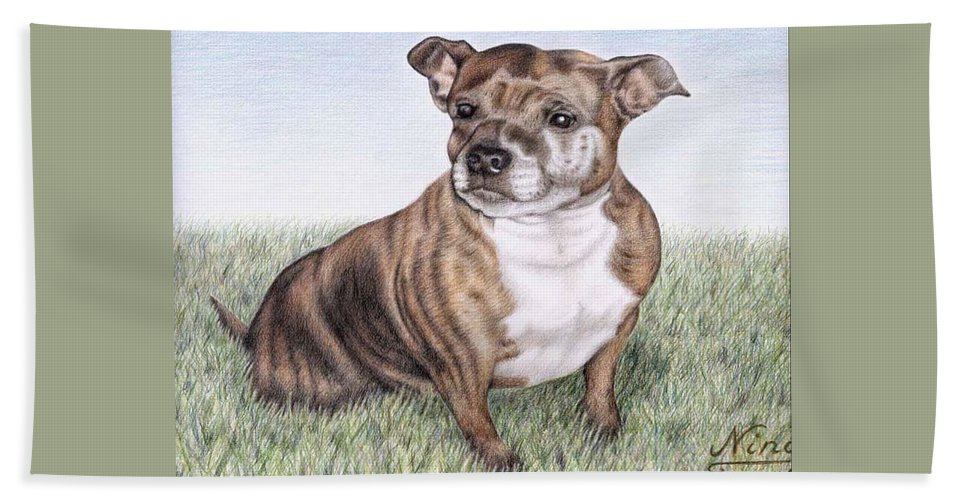 Dog Beach Sheet featuring the drawing English Staffordshire Terrier by Nicole Zeug