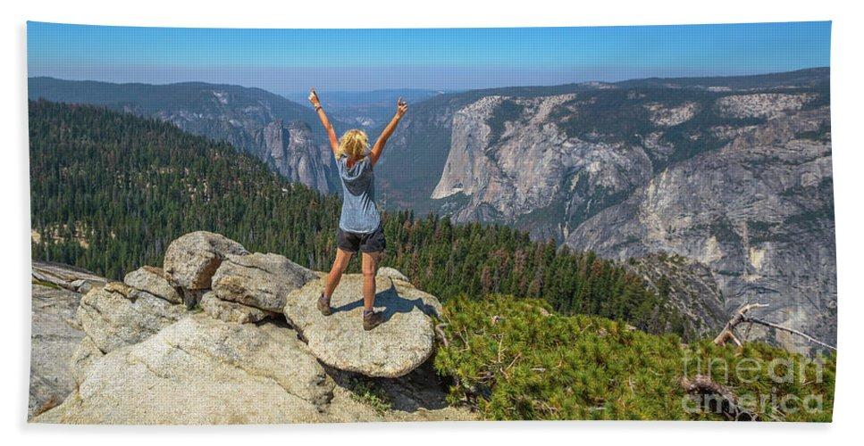 Yosemite Beach Towel featuring the photograph Enjoying At Yosemite Summit by Benny Marty