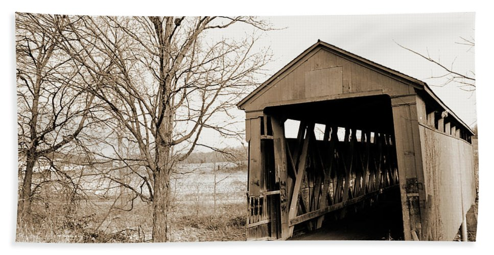 Wooden Beach Towel featuring the photograph Enochsburg Indiana Covered Bridge by Gary Wonning