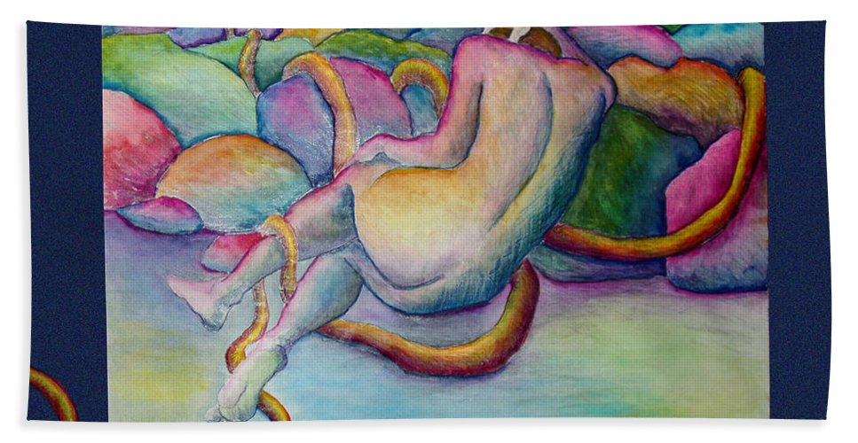 Figure Beach Towel featuring the painting Entangled Figure With Rocks by Nancy Mueller