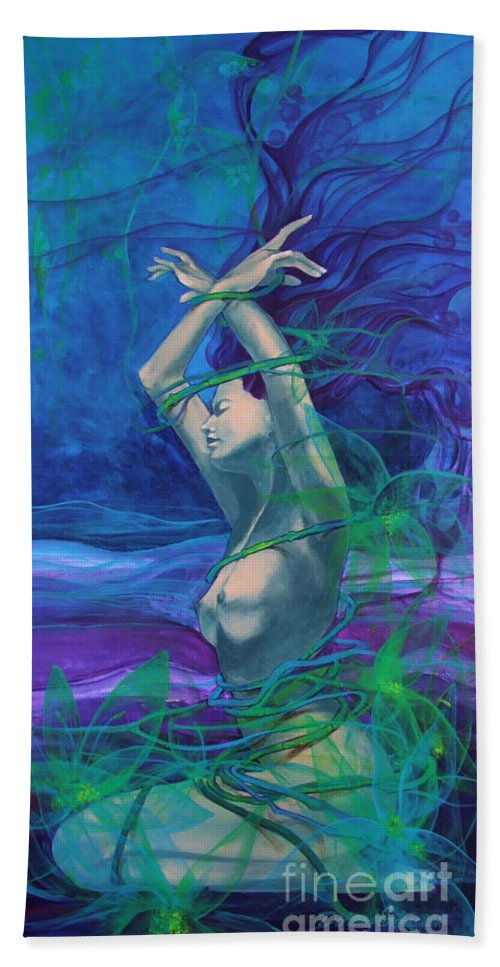 Art Beach Towel featuring the painting Entangled In Your Love... by Dorina Costras