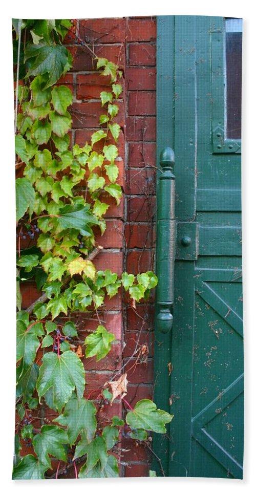 Vines Beach Towel featuring the photograph Enter Vine Door by Minaz Jantz