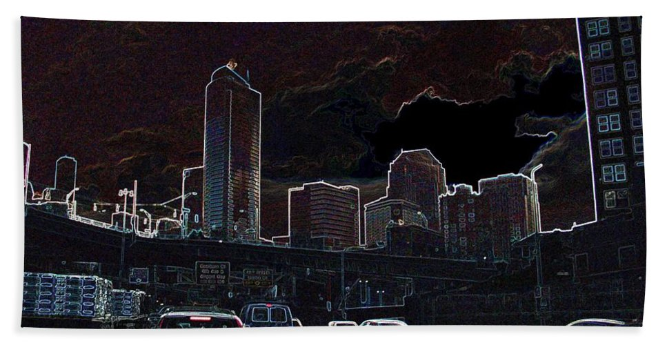 Seattle Beach Towel featuring the photograph Entering The City by Ron Bissett