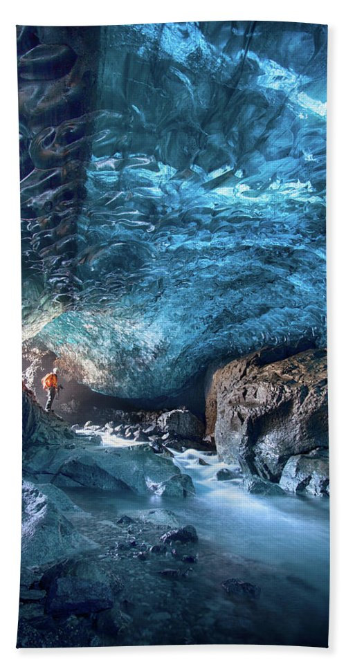Peter Svoboda Beach Towel featuring the photograph Entering The Ice Cave by Peter Svoboda