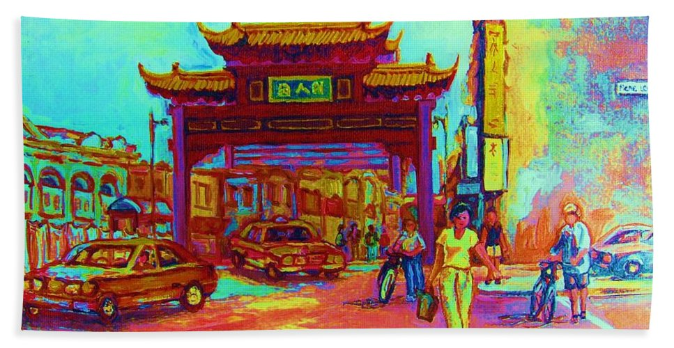 Montreal Beach Towel featuring the painting Entrance To Chinatown by Carole Spandau