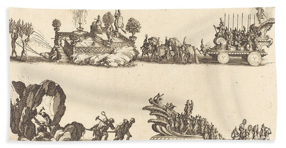 Beach Towel featuring the drawing Entry Of His Highness, Representing The Sun by Jacques Callot