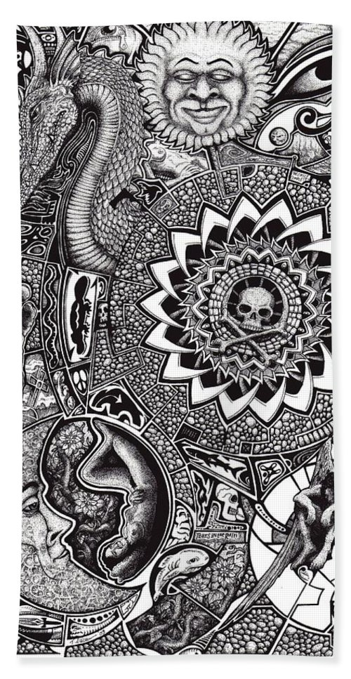 Black And White Beach Towel featuring the drawing Epiphany by Tobey Anderson