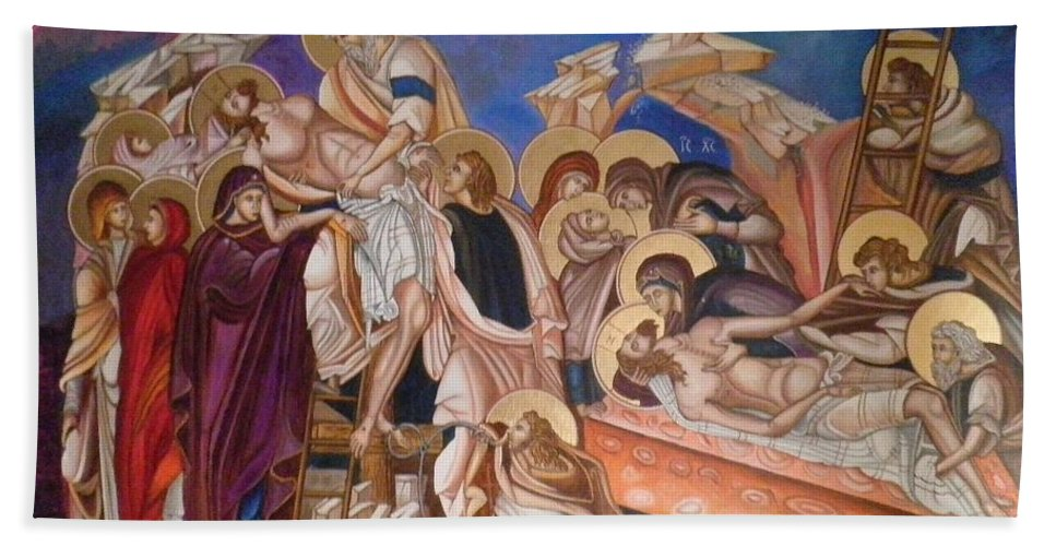 Jesus Christ Beach Towel featuring the painting Epitaph by Konstantinos Baklatzis