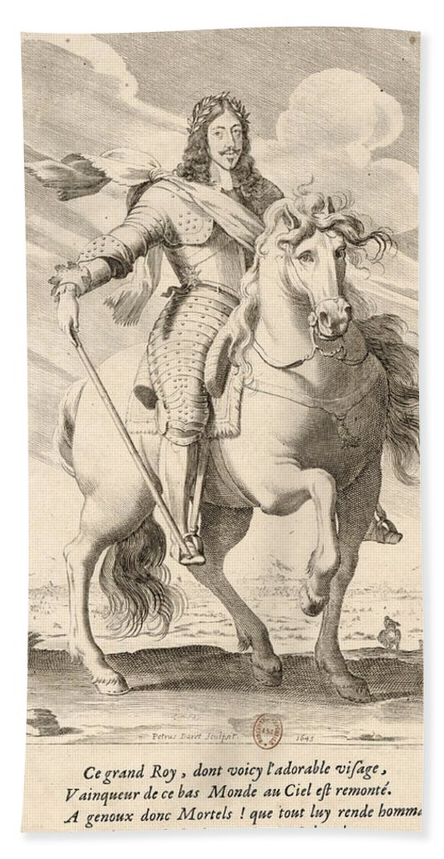 Pierre Daret Beach Towel featuring the drawing Equestrian Portrait Of Louis Xiii Of France by Pierre Daret