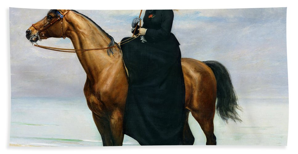 Equestrian Beach Towel featuring the painting Equestrian Portrait Of Mademoiselle Croizette by Charles Emile Auguste Carolus Duran