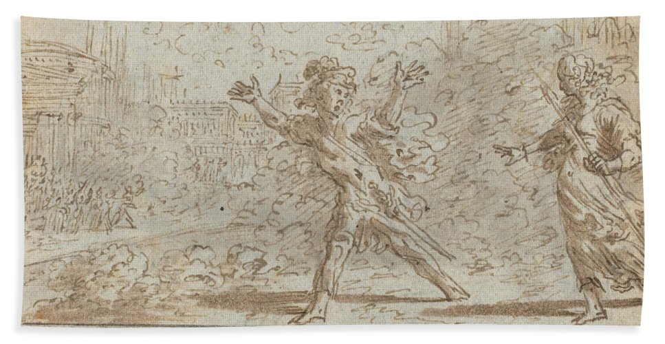 Beach Towel featuring the drawing Ergasto And Corisca by Johann Wilhelm Baur