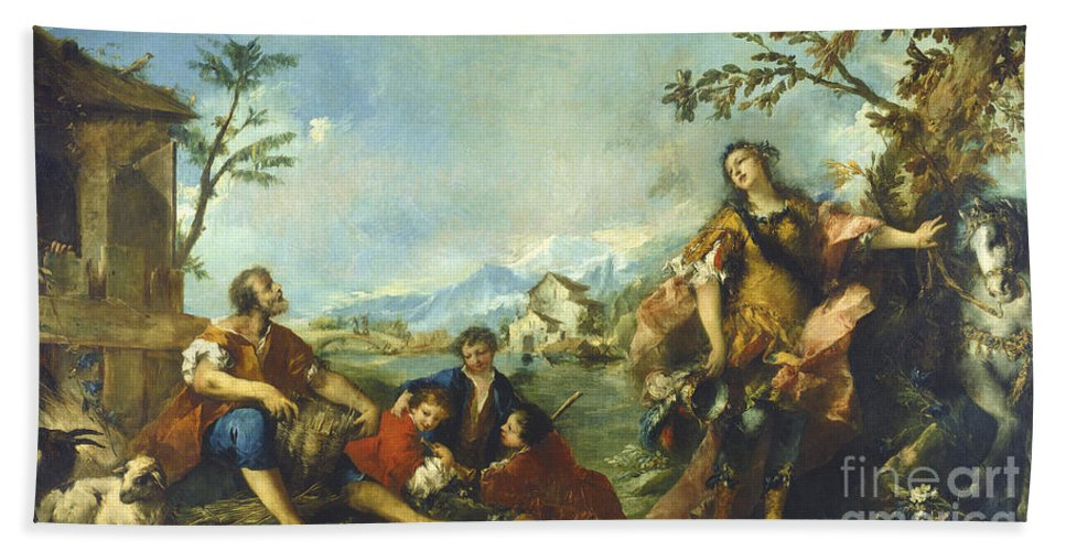 Beach Towel featuring the painting Erminia And The Shepherds by Gian Antonio Guardi And Francesco Guardi