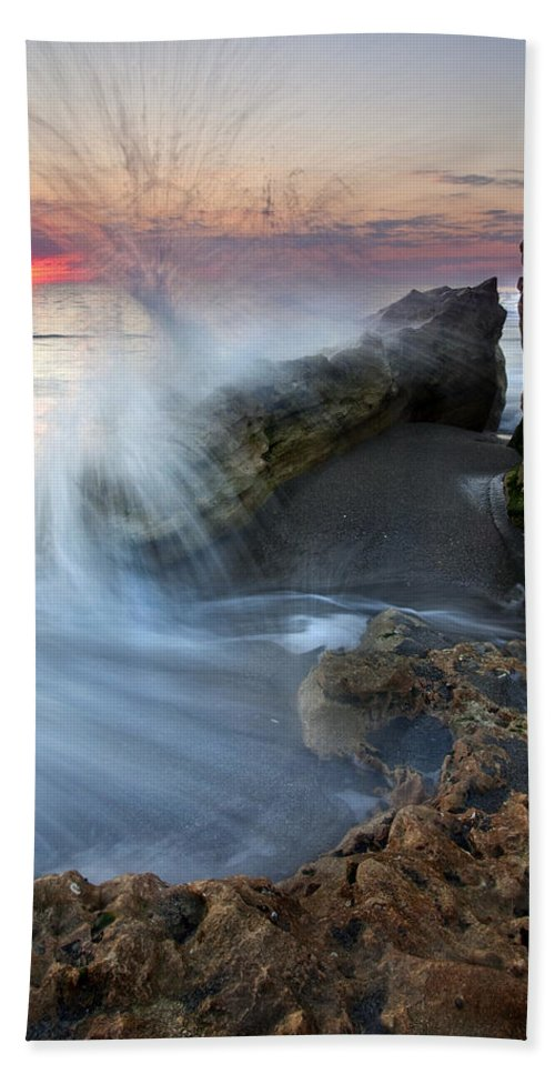 Blowing Rocks Beach Sheet featuring the photograph Eruption At Dawn by Mike Dawson