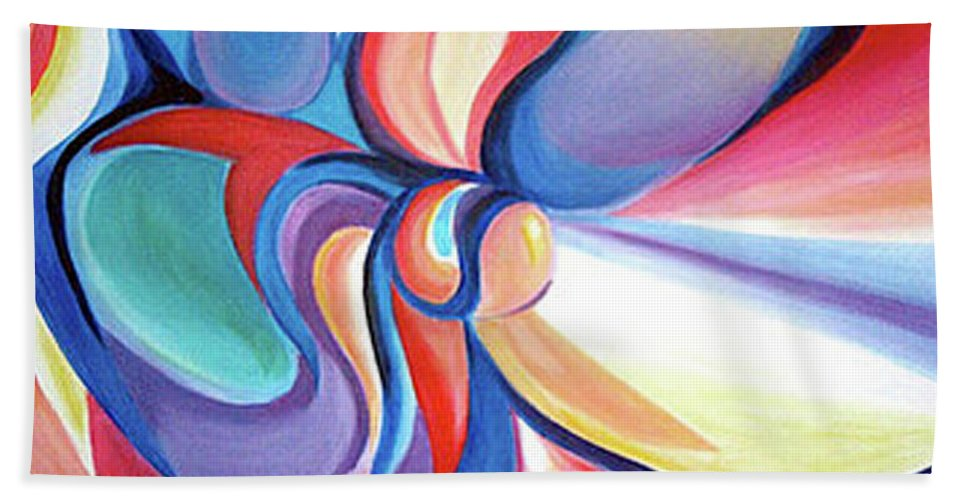 Abstract Beach Towel featuring the painting Essence by Anna Lobsanova