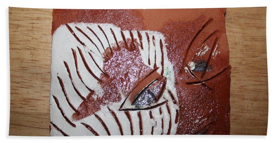 Jesus Beach Towel featuring the ceramic art Estelle - Tile by Gloria Ssali