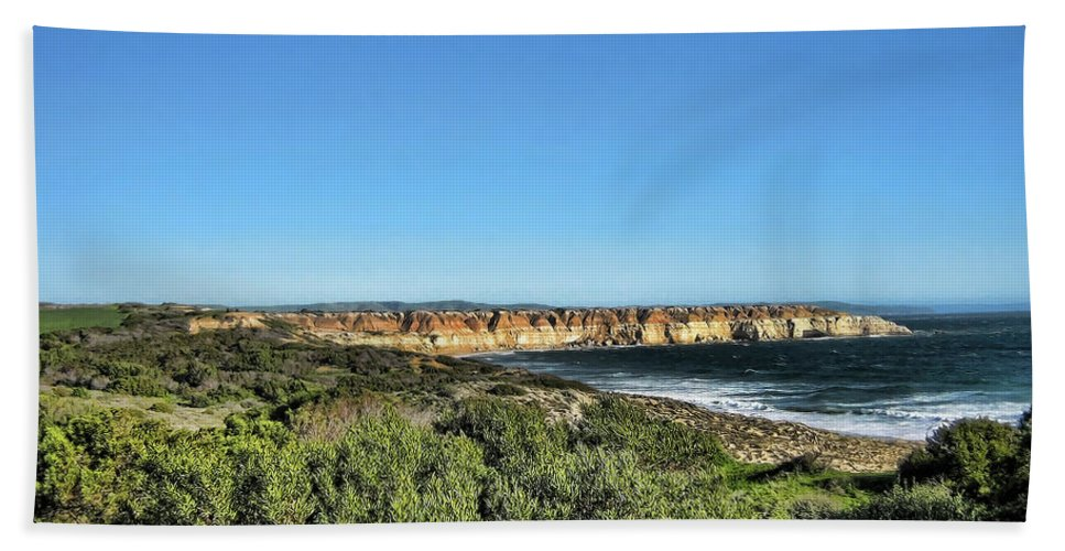Coastline Beach Towel featuring the photograph Etched Out Of Sandstone by Douglas Barnard