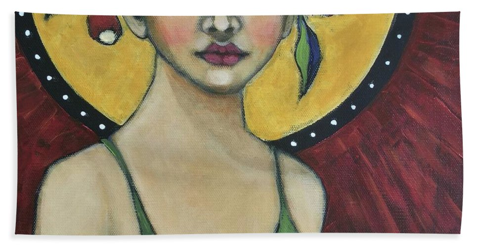 Portrait Beach Towel featuring the painting Eternally Yours by Jane Spakowsky