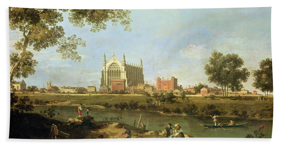Eton Beach Towel featuring the painting Eton College by Canaletto