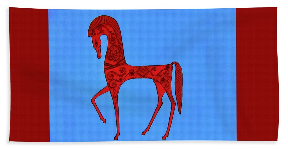 Horse Beach Towel featuring the painting Etruscan Horse #2 by Stephanie Moore