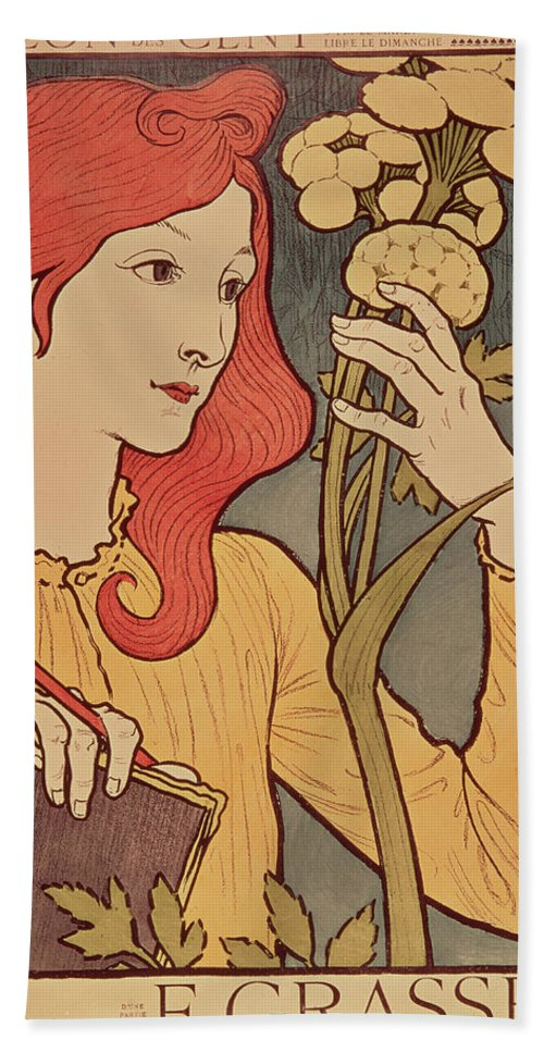 Girl Beach Towel featuring the painting Eugene Grasset by Salon des Cent